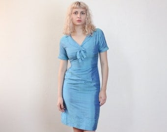 Vintage 60s Dress // Blue Sheath Dress Pencil Skirt 1960s Fitted - Small