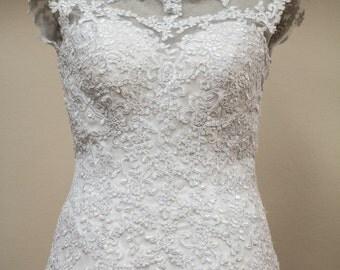 A line, vintage lace bridal gown, detachable belt