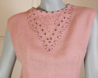 French Vintage 1960s Pink Sleeveless Top Women's, Size 12 (US), Size 16 (UK), Beaded Top, 60s Blouse, Jackie Kennedy Look