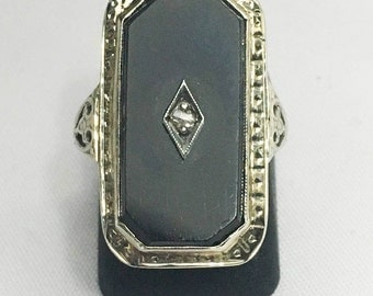 Antique Vintage  Art Deco 1920's 14K White Gold  Black Onyx and Diamond Ring