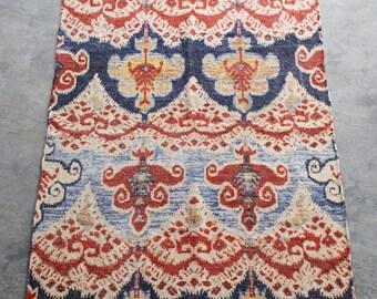 Handmade Cotton Area Rug Printed Design Oriental Carpet 3X5 Red Yellow Blue Carpet