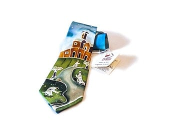 """Hand painted silk tie-""""memory of Assisi"""""""