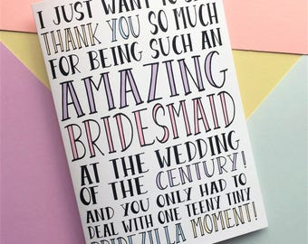 Thank You Bridesmaid Card, Funny Bridesmaid Card, Bridesmaid Card, Funny Wedding Card, Thank You Wedding Card, Bridezilla Wedding Card