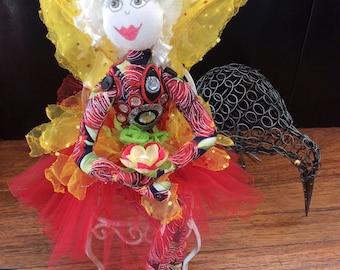 NZ themed doll,cloth fairy,sitting fairy,OOAK,unique gift,textile doll,Pohutakawa Sister 4
