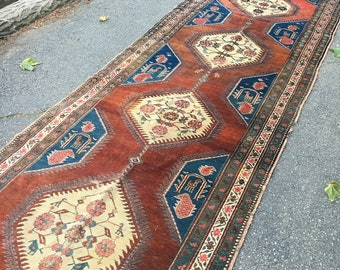 "Antique Caucasian Runner 3'7"" x 14'2"""