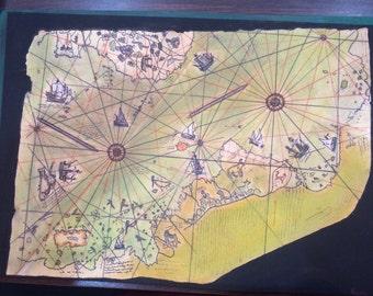 Piri Reis Map, soft pastel painting