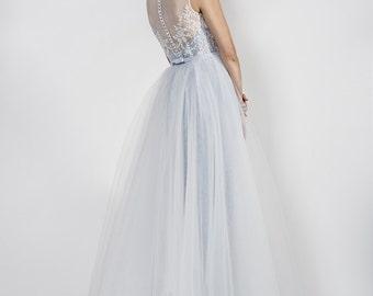 Blue wedding dress with full tulle skirt