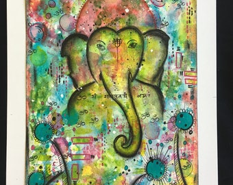 Blissful Ganesha- Original handmade, hand painted mixed media painting- one of a kind.