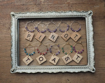 Wine Glass Charms – Set of 5 - Scrabble Tiles – Housewarming Gift – Party Favor – Wine Accessories – Gift Ideas - Scrabble Wine Charms