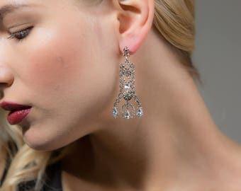 AQARIUS Silver Rhinestone Earrings