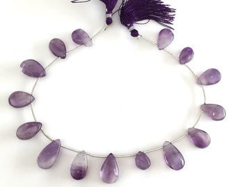 """1 Full 8"""" Strand Smooth Amethyst Briolettes - 15 Top Drilled Gemstone Beads"""