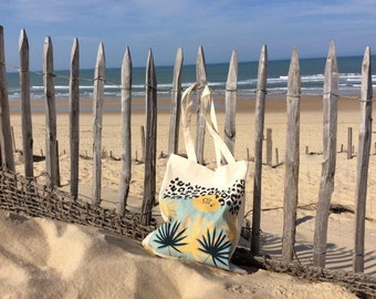 Palm Beach bag Tote gold turquoise