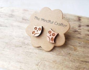 Owl earrings owl stud earrings owl jewellery bird earrings copper brown owl earrings. Owl jewelry Woodland bird jewellery owls