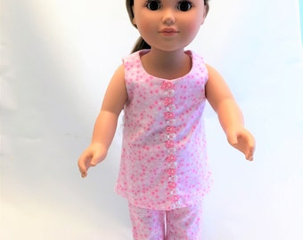 18 inch doll; Flannel pajamas