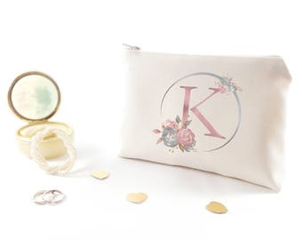 Personalized bridesmaid gift Monogram makeup pouch Bridesmaid proposal Makeup bag Will you be my bridesmaid gift Custom gift for bridesmaids