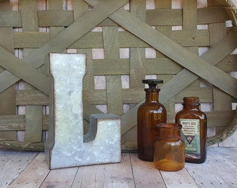 Galvanized Letter, Small Metal Letter, Letter L, Farmhouse Decor, Rustic Letter, Letter Wall Hanging, Galvanized Metal, Wedding Gift