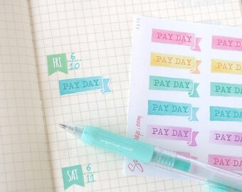 Payday Edge Side Flag, Planner Stickers, Pay, Pay Day, Banner, Ribbon, Work, Watercolor, Sticker Set, Task, To Do, Decoration, PAY5