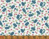 Vintage Feedsack Fabric - Small Floral with Dragonflies - Quilting Cotton 1940s 1950s