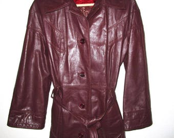 Burgundy Leather Trenchcoat - Leather Jacket Vintage 1970's- Women's Size Small - Wine Leather with Gorgeous Red Satin Lining