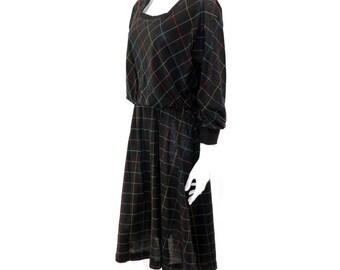 Vintage Window Pane Dress// 80s Long Sleeve Dress // Casual Dress// L XL // 126