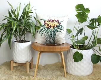 Barrel Cactus Throw Pillow, Velvet Cushion Cover, Copper Zipper, Rose Gold Trim, Linen Back Velvet Throw Pillow, Boho Home Decor