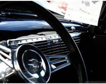 Black Silver Classic Car Dashboard - 5x7 Vintage Car Detail Photograph - Old Chevy Pickup Dash - Old Car Art - Retro Automobile Art
