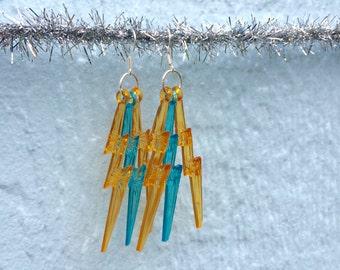 Orange + Blue Lightning Bolt Earrings w/ silvery hooks