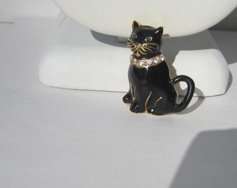 Vintage Black Cat Enamel and Rhinestone Cat Kitty Brooch Pin    0602