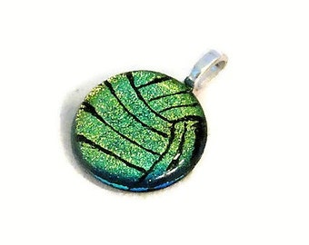 Volleyball Necklace, Water Polo Ball Necklace, Volleyball Jewelry, Water Polo Jewelry, Dichroic Glass Jewelry, Athlete Gift, Green Ball