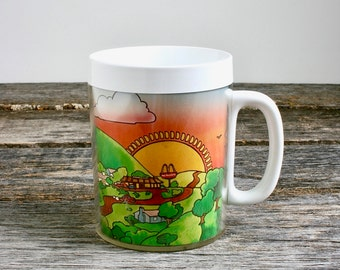 Vintage McDonald's Thermo Serv Mug, Insulated Mug Cup, Coffee Mug, Restaurant Advertising, 70s Collectible, Plastic Dishes