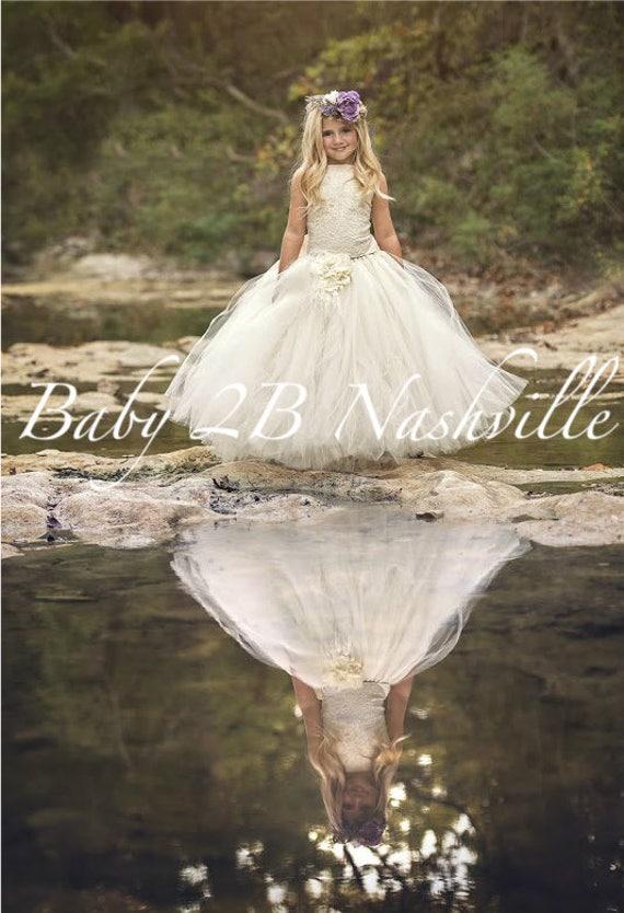 Vintage Dress Ivory Dress Sequin Dress Lace Dress Flower Girl Dress Tulle Dress Baby Dress Toddler Tutu Dress Girls Dress Wedding Dress