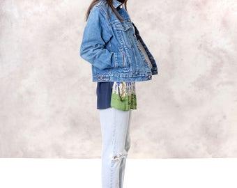 DENIM JACKET women DISTRESSED faded Roebucks vintage Oversize faded jean coat Medium / better Stay together