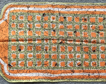 SALE Pure Silk Scarf By Baar & Beards/ Hand Rolled Hem/ Abstract Design Japan/ Mod Era