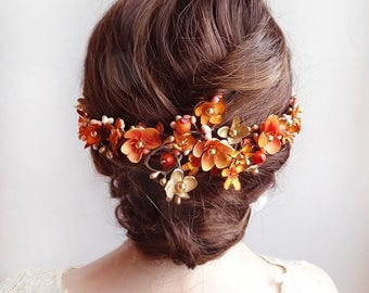 fall headpiece, burnt orange and gold hair vine, autumn wedding hair comb, orange flower, orange hair accessories, floral hair vine, pearls
