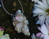 Angel Aura Spirit Quartz Necklace - Angel Aura Quartz Spirit Quartz with Silver Swirls - Iridescent Rainbow Spirit Quartz - Feradelia