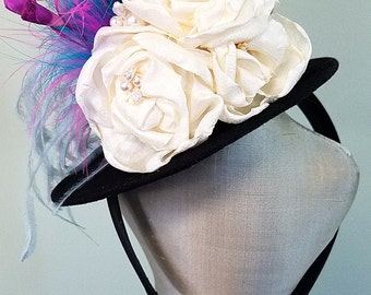 Mini Top Hat Something Blue Bridal Boudoir Prop, Bridal Shower Hat with Ivory Flowers, Mad Hatter Party