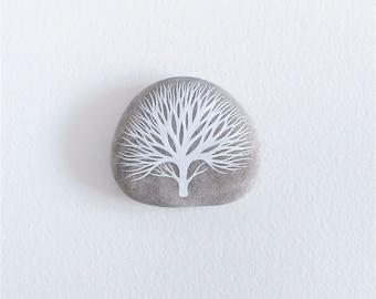 Wintertime 3 - Bare Tree Painted Stone - Beach Pebble, Nature, Rock Art - by Natasha Newton