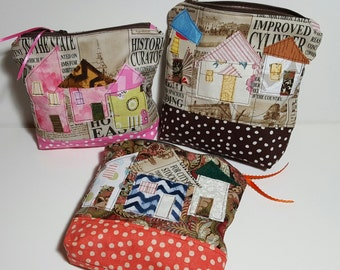 Zipper Pouch - Little Houses, gusset bottom carry-all, travel pouch, cosmetics, phone,