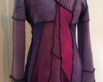 Cashmere Sweater Hooded Dress Upcycled No. 15 Black Berry Purple Hand Dyed