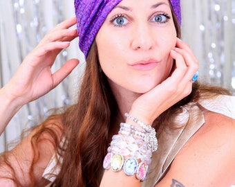 Fashion Turban in Purple Sequins - Head Turbans for Women - Sparkle Hair Wrap - Lots of Colors