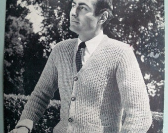 Vintage 1950s Knitting Pattern Men's Cardigan 50s original pattern ribbed design with pockets Lee Target No. 1250 UK