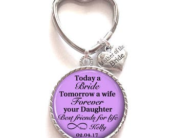 Mother of the Bride Gift | Personalized Key Chain | Custom Gift for Mom | Style 643