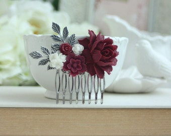 Burgundy and White Flower Comb, Burgundy Flower Silver Plated Comb, Floral Hair Piece, Floral Hair Comb, Bridesmaid Gift Rustic Fall Wedding