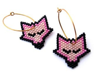Earrings - Sleeping Pumpkin Fox - Pink, Dark Pink and Black - 24k Gold plated sterling silver