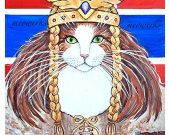 Cat Sweatshirt, Norwegian Forest Cat, Freya Goddess of Love and War  red white blue flag
