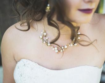 REIS Gold Pearl Branch Necklace, Bridal Necklace, Bridesmaids, Woodland Wedding, Garden Wedding, Vintage Wedding, Pearl Necklace, Gold