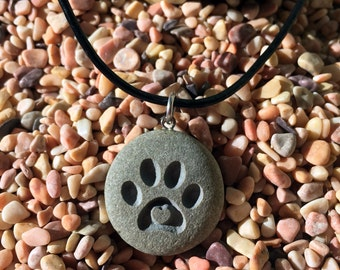 Kitten Love! Cat paw with 3D heart - engraved Beach Stone Pendant Jewelry