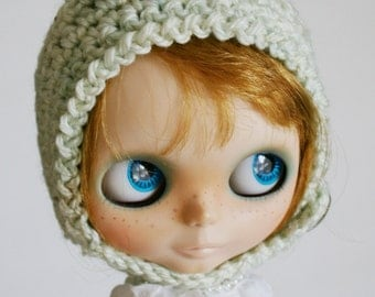 Blythe Gnome Helmet Pixie Hat - Glass Cabochon Dome Button Blueish White Wool Butterfly