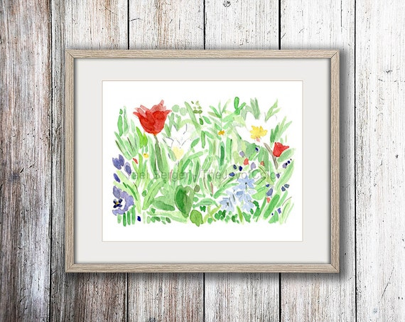 art print spring garden, watercolor painting, spring bloom art, Fresh floral print, mothers day, home decor, garden print, garden flowers