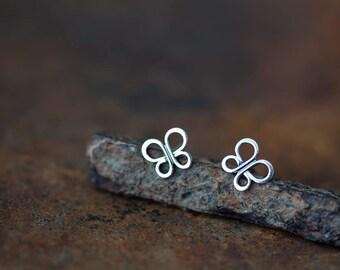 Minimalist Butterfly Stud Earrings, 9mm small butterfly earrings, wire wing outline, simple 925 sterling silver earrings